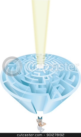 maze man illustration stock vector clipart, A man at the entrance of an imposing maze in need of guidance  by Christos Georghiou