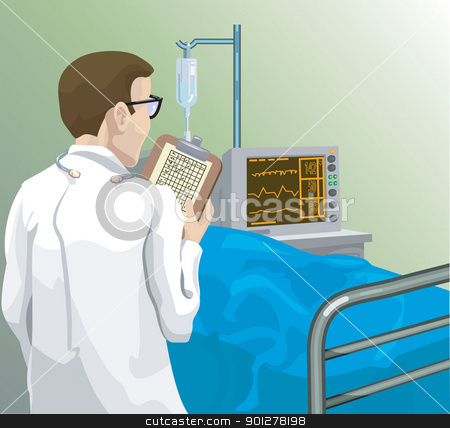 doctor stock vector clipart, a doctor reviewing a patient's notes medical3.jpg by Christos Georghiou