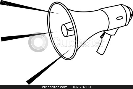megaphone Illustration stock vector clipart, Vector illustration of a megaphone  by Christos Georghiou
