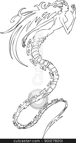 Mermaid Illustration stock vector clipart, An illustration of a mermaid type woman thingy.  by Christos Georghiou
