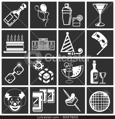 party icon set series stock vector clipart, party icon set series. icons or design elements relating to parties.  by Christos Georghiou