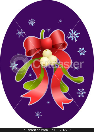 mistletoe christmas  illustration stock vector clipart, A vector illustration of Christmas mistletoe and bow  by Christos Georghiou