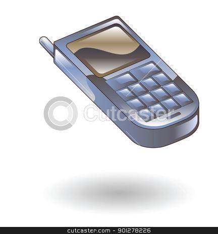 mobile phone Illustration stock vector clipart, Illustration of a mobile phone by Christos Georghiou