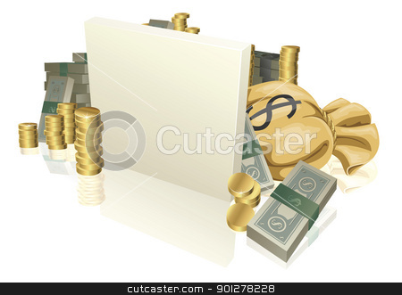 Cash and gold coins sign stock vector clipart, Sign in the middle of lots of cash and gold coins with copyspace by Christos Georghiou