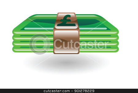 money pounds sterling stock vector clipart, Illustration of a wad of money by Christos Georghiou