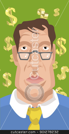 man with dollar money signs in background stock vector clipart, Illustration of man with dollar signs in background by Christos Georghiou