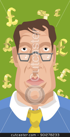 man with sterling money signs in background stock vector clipart, Illustration of man with sterling money signs in background. Financial business concept. by Christos Georghiou