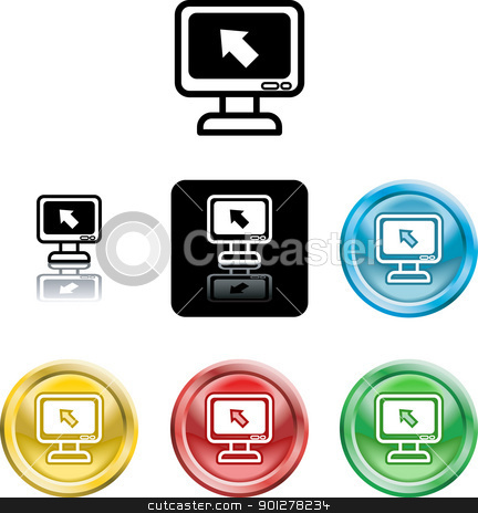 computer monitor icon symbol stock vector clipart, Several versions of an icon symbol of a stylised computer monitor and pointer  by Christos Georghiou
