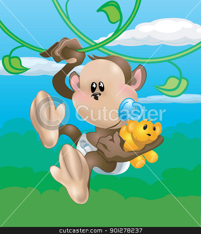 cute monkey illustration stock vector clipart, A cute baby monkey swinging through the trees  by Christos Georghiou