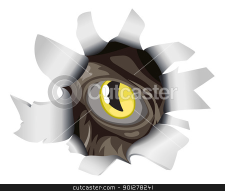 Creature looking through tear stock vector clipart, An evil creature eye peering through a hole torn in the background by Christos Georghiou