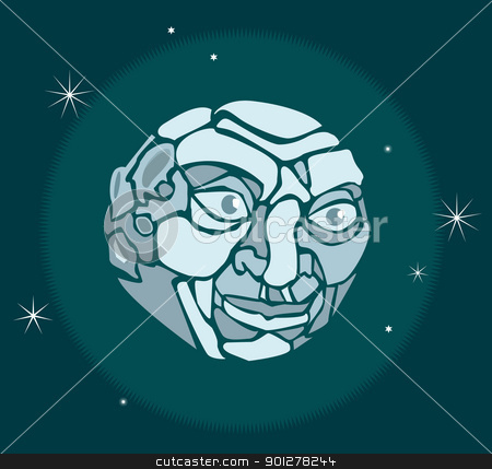 Man in the Moon stock vector clipart, illustration of a moon with a face by Christos Georghiou