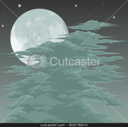 Spooky moonlit sky background stock vector clipart, A spooky moon lit sky background with fog clouds by Christos Georghiou