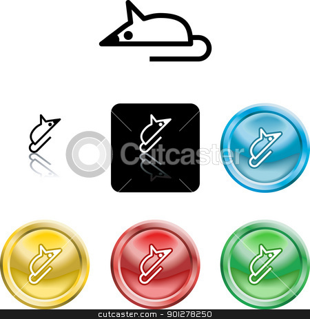 mouse symbol icon stock vector clipart, Several versions of an icon symbol of a stylised mouse representing a computer mouse