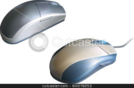 Computer Mouse stock vector clipart,  Vector illustrations of two computer mice  by Christos Georghiou