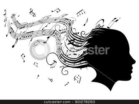 Woman head profile hair music concept  stock vector clipart, Conceptual illustration of a woman's head in profile with hair turning into sheet music musical notes by Christos Georghiou