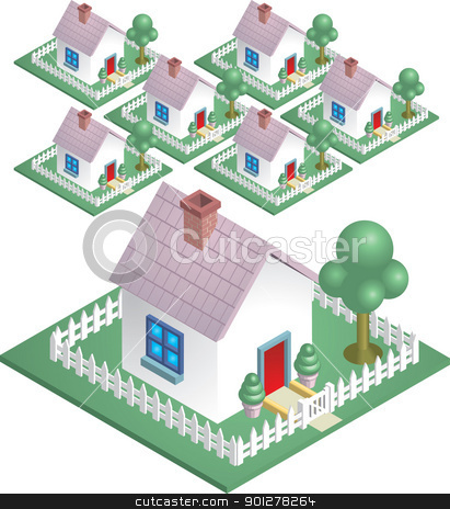 neighbourhood illustration stock vector clipart, A cute house with a picket fence, easily arranged to represent a neighbourhood.  by Christos Georghiou