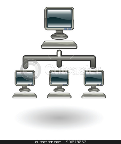 network Illustration stock vector clipart, Illustration of a computer network by Christos Georghiou