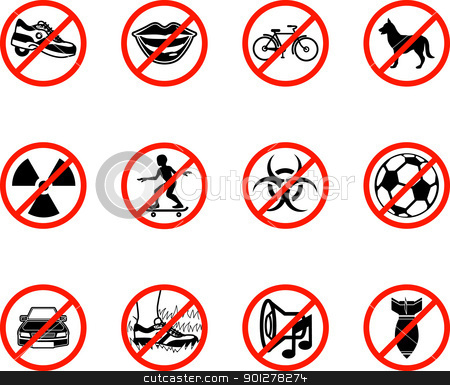 No Icons  stock vector clipart, No icons; A series set of icons all outlining things that are prohibited or being called on to be banned! E.g. No talking, no cycling, no dogs, no ball games etc.   by Christos Georghiou