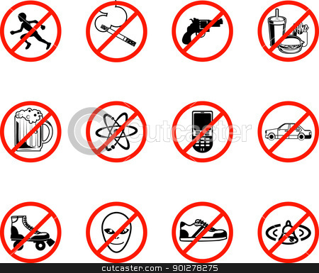 No Icons  stock vector clipart,  A series set of icons all outlining things that are prohibited or are calling on to be banned! E.g. No running, no smoking, no firearms, no eating, no alcohol, no phones, no sneakers etc.   by Christos Georghiou