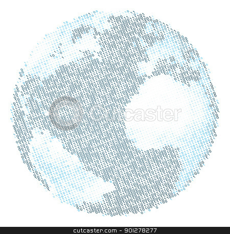 The binary world stock vector clipart, An illustration of the world, using the binary code to depict the continents and oceans by Christos Georghiou