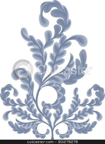 oak leaves  Illustration design element stock vector clipart, An illustration of some pretty oak leaf scrolls. No meshes uses  by Christos Georghiou