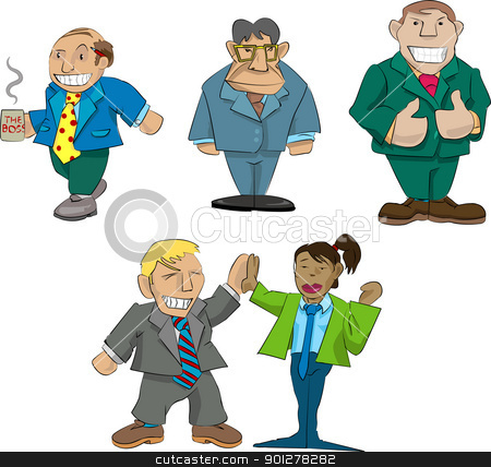 office caricatures stock vector clipart, Vector caricatures of office types.  by Christos Georghiou