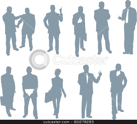 office and business people silhouettes stock vector clipart, Business men and women doing what they do!  by Christos Georghiou