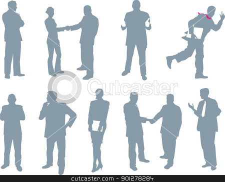 office and business people silhouettes stock vector clipart, Some Business men and women doing what they do!  by Christos Georghiou