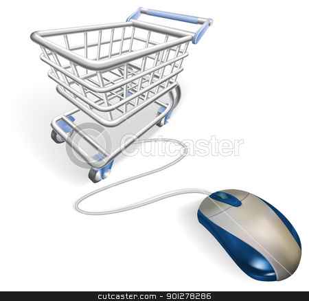 Online internet shopping concept stock vector clipart, A mouse connected to a shopping cart trolley. Concept for online internet shopping. by Christos Georghiou