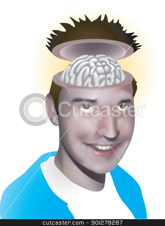 Open minded stock vector clipart,  Vector illustration of a man with his brain on show!  by Christos Georghiou