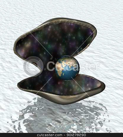 the world is your oyster stock photo, Oyster shell opening up to reveal a globe, representing opportunity etc.