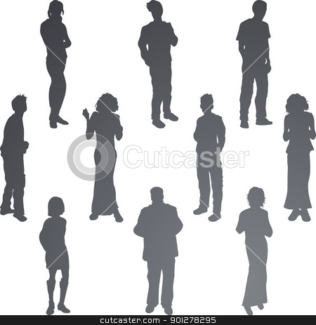 friends silhouettes illustration stock vector clipart, A group of young friends. Each is a complete silhouette.  by Christos Georghiou