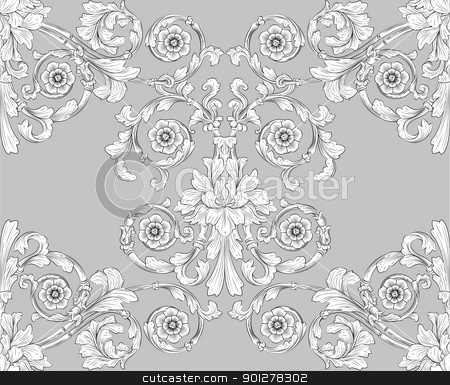 seamless tiling floral wallpaper pattern  stock vector clipart, retro seamless tiling floral wallpaper pattern reminiscent of floral victorian designs inspired by greek and roman ornament. Designed to look at its best when tiled.  by Christos Georghiou