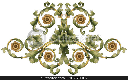 floral pattern stock vector clipart, A floral pattern in front of white background by Christos Georghiou