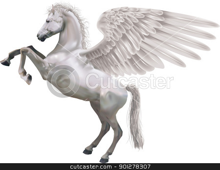 rearing pegasus horse illustration stock vector clipart, An illustration of the mythological horse Pegasus rearing up on its hid legs.  by Christos Georghiou