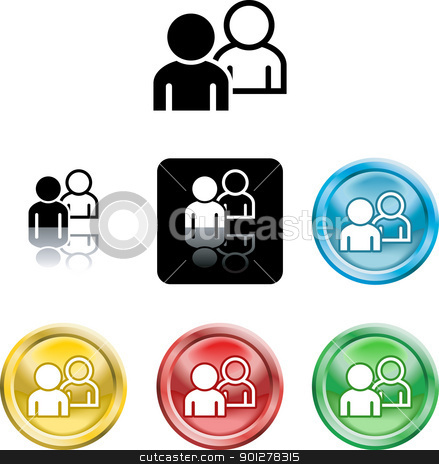 people networking icon symbol stock vector clipart, Several versions of an icon symbol of stylised people  by Christos Georghiou
