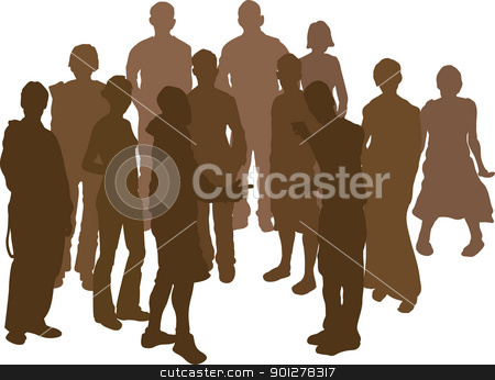 group silhouette stock vector clipart, A group of 12 funky young friends. Each is a complete silhouette  by Christos Georghiou