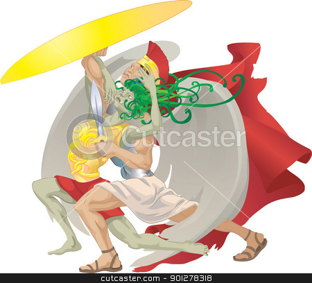 perseus and medusa illustration stock vector clipart, Perseus from classical mythology slaying medusa. No meshes used.  by Christos Georghiou