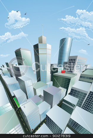 Modern cityscape of city centre financial district stock vector clipart, A modern cityscape of a city centre financial district with high rise skyscrapers by Christos Georghiou