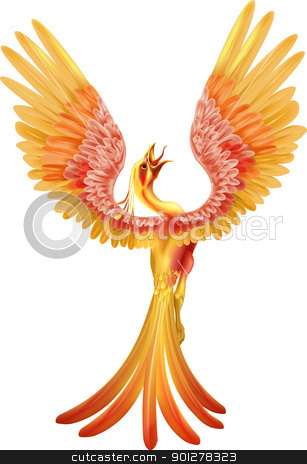 A phoenix rising from the ashes stock vector clipart, A phoenix bird rising from the ashes with wings spread out by Christos Georghiou