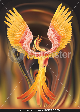 phoenix illustration stock vector clipart, A phoenix rising from the ashes  by Christos Georghiou