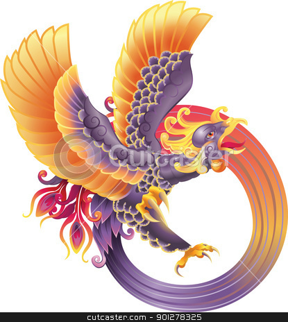 phoenix fire bird stock vector clipart, A beautiful phoenix illustration by Christos Georghiou