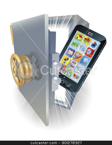Phone protection concept stock vector clipart, Illustration of a new mobile phone protected in a safe. by Christos Georghiou