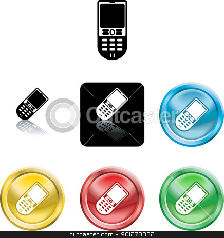 mobile phone icon symbol stock vector clipart, Several versions of an icon symbol of a stylised mobile cell phone   by Christos Georghiou