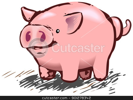 pig illustration stock vector clipart, A cute piggy pig in a rough and ready style! No meshes used, all blends or gradients.  by Christos Georghiou