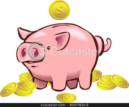 piggy bank moneybox stock vector clipart, a piggy bank with a coin going into it.  by Christos Georghiou