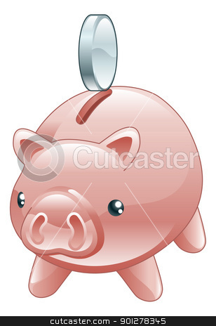Savings Cute shiny piggy bank stock vector clipart, An illustration of a cute shiny piggy bank with a coin going into it.  by Christos Georghiou