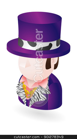 pimp icon stock vector clipart, Illustration of a pimp character icon by Christos Georghiou