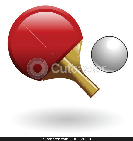 ping pong Illustration stock vector clipart, Illustration of a ping pong paddle and ball by Christos Georghiou