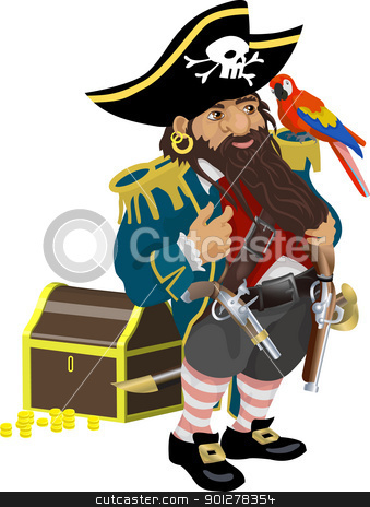 pirate illustration stock vector clipart, a pirate  by Christos Georghiou